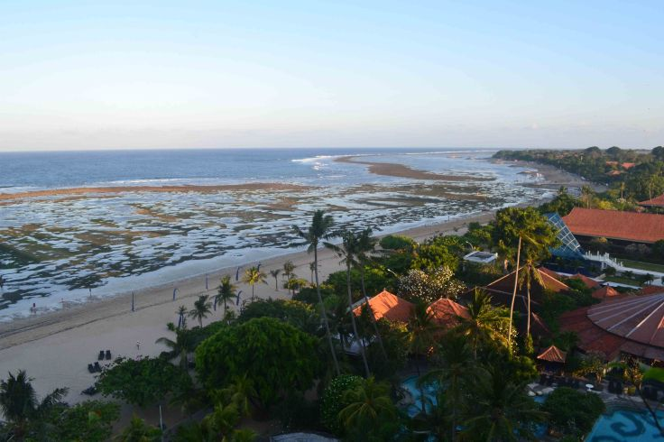 Sanur Beach in Low Tide, Exposing the reef