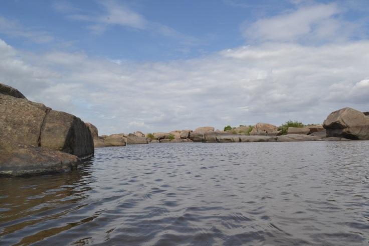 Hidden lake on Tugabhadra Hampi